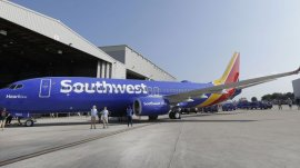 LM OTERO/AP A Southwest Airlines plane sports the newly